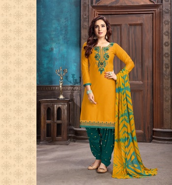 Yellow Green embroidered stone satin cotton unstitched salwar with dupatta