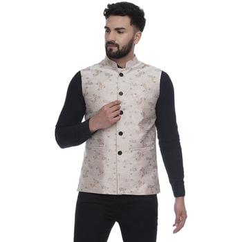 Beige brasso banarasi nehru-jacket