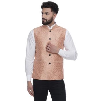 Pink brasso banarasi nehru-jacket