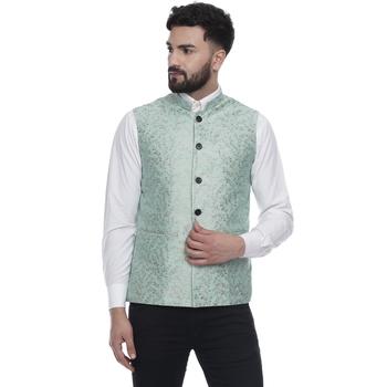Green Brasso Banarasi Nehru Jacket