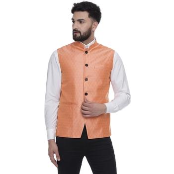 Pink brasso jacquard nehru-jacket