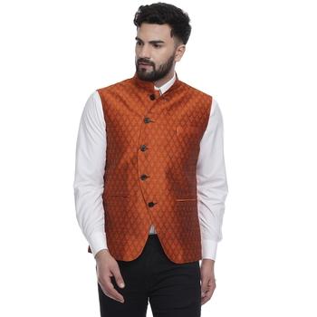 Orange brasso jacquard nehru-jacket