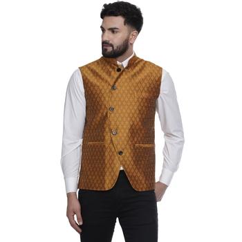 Gold brasso jacquard nehru-jacket