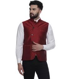 Maroon Brasso Jacquard Nehru Jacket