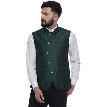 Green brasso jacquard nehru-jacket
