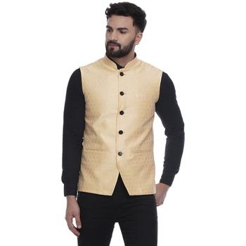 Yellow Brasso Jacquard Nehru Jacket