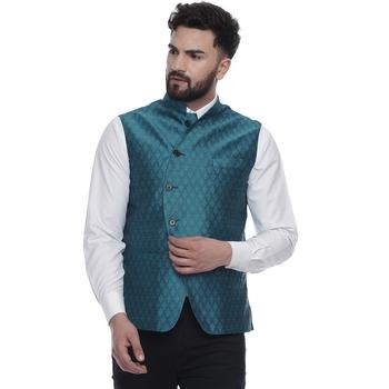 Turquoise brasso jacquard nehru-jacket