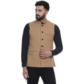 Brown woven pure cotton knitted stretch nehru-jacket