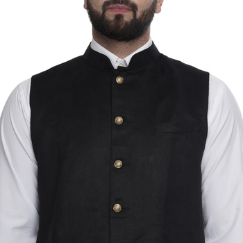 Brown plain faux velvet nehru-jacket