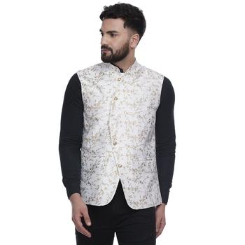 White brasso jacquard nehru-jacket