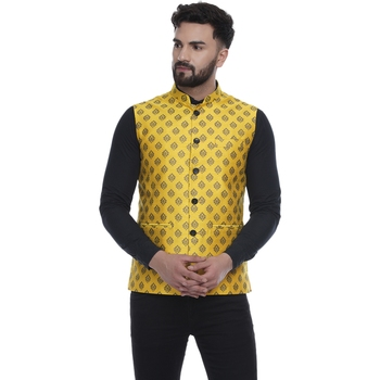 Yellow brasso jacquard nehru-jacket