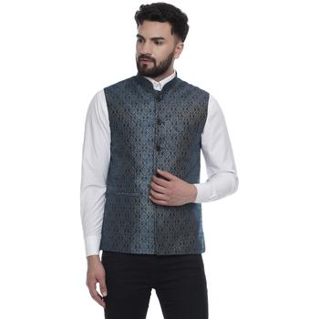 Blue Brasso Jacquard Nehru Jacket