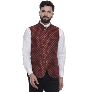 Maroon brasso jacquard nehru-jacket
