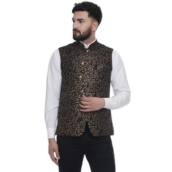 Black brasso jacquard nehru-jacket