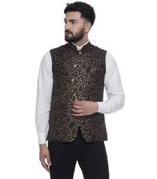 Black Brasso Jacquard Nehru Jacket