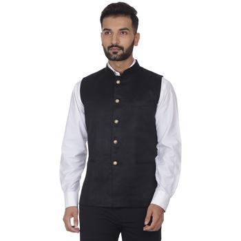 Black plain faux velvet nehru-jacket
