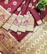 Buy maroon woven banarasi saree with blouse