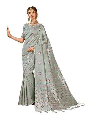 Grey woven kanchipuram silk saree with blouse