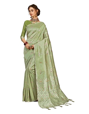 Olive woven kanchipuram silk saree with blouse