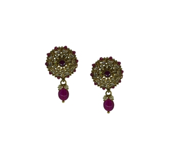 Maroon cubic zirconia earrings