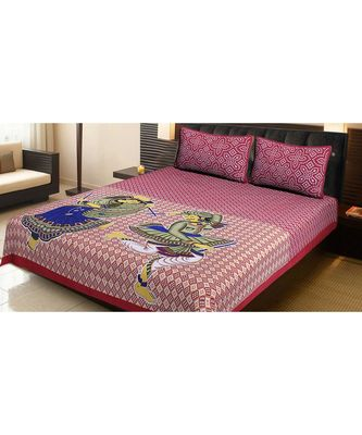 100% Cotton Printed Jaipuri Double Bedsheet with 2 Pillow Covers