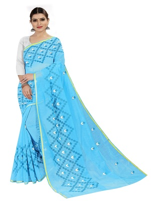 Light sky blue embroidered chanderi silk saree with blouse