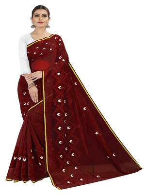 Maroon embroidered chanderi silk saree with blouse