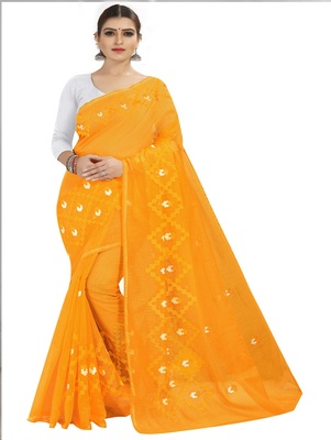 Mustard embroidered chanderi silk saree with blouse