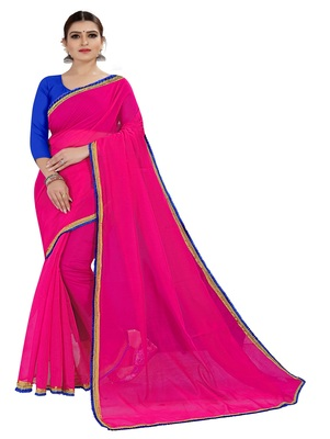 Pink plain chanderi silk saree with blouse