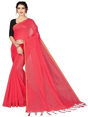 Dark peach plain chanderi silk saree with blouse