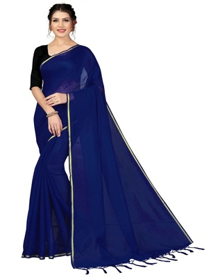 Navy blue plain chanderi silk saree with blouse