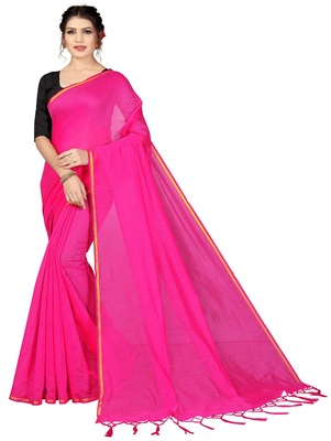 Light pink plain chanderi silk saree with blouse