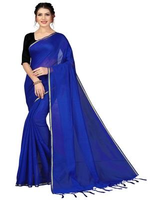 Royal blue plain chanderi silk saree with blouse