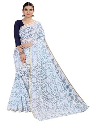 White printed chanderi silk saree with blouse