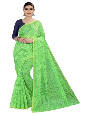 Light green printed chanderi silk saree with blouse
