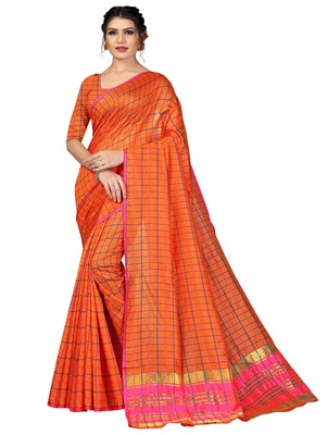 Orange plain cotton silk saree with blouse
