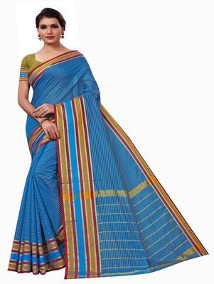 Dark sky blue plain cotton silk saree with blouse