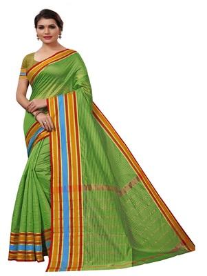 Light green plain cotton silk saree with blouse