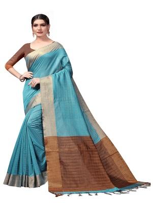 Light sky blue plain cotton silk saree with blouse
