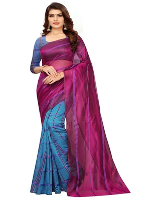 Wine plain cotton silk saree with blouse