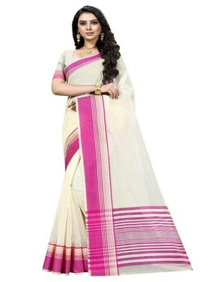 Cream plain cotton silk saree with blouse