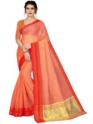Light orange plain cotton silk saree with blouse