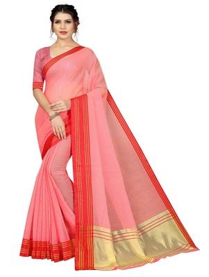 Light peach plain cotton silk saree with blouse