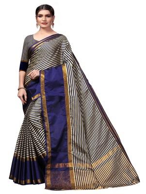 Navy blue plain cotton silk saree with blouse