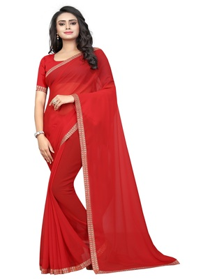 Blood red plain georgette saree with blouse