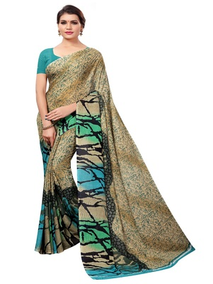 Chiku printed georgette saree with blouse