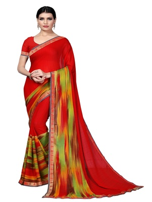 Blood red printed georgette saree with blouse