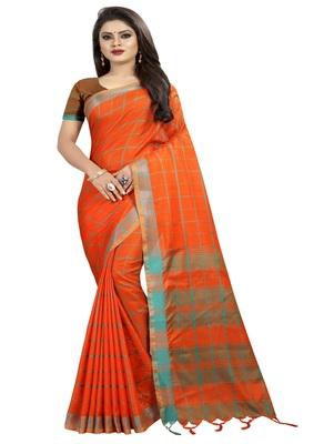 Orange plain linen saree with blouse