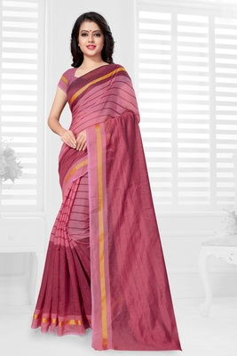 Dark pink hand woven cotton saree with blouse