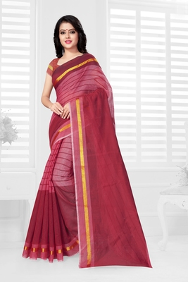 Maroon hand woven cotton saree with blouse